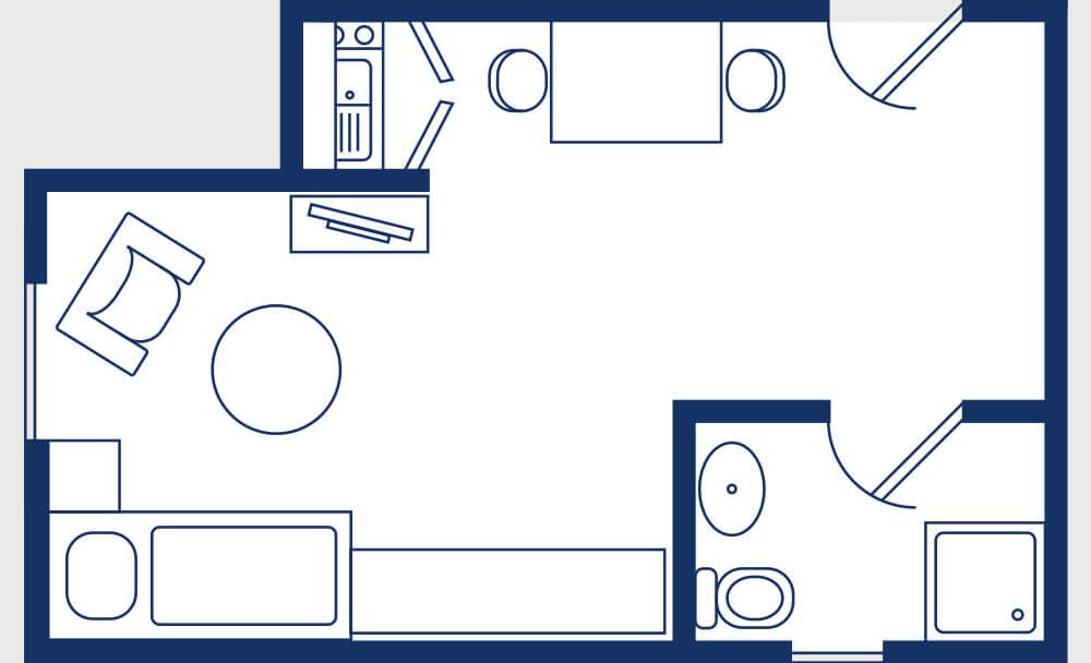 Grundriss Appartement für eine Person